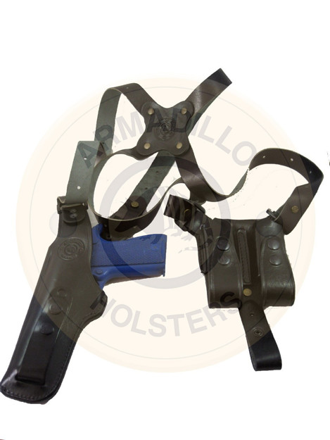 Picture of BLACK LEATHER VERTICAL SHOULDER HOLSTER FOR GLOCK