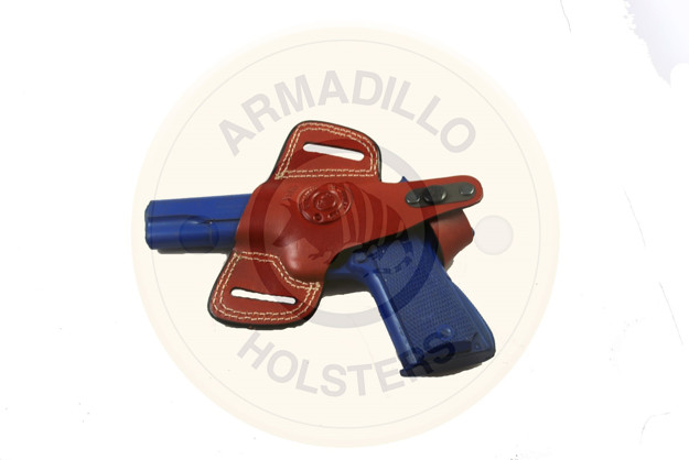 """Picture of LEFT HAND ARMADILLO HOLSTERS LEATHER BELT HOLSTER WITH STRAP FOR 3"""" TO 5"""" 1911 MODEL GUNS"""