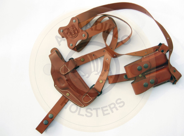 Picture of LEFT HAND TAN LEATHER HORIZONTAL SHOULDER HOLSTER FOR GLOCK