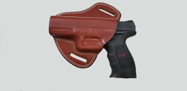 Picture of LEFT HAND TAN LEATHER BUTTERFLY HOLSTER FOR SAR9