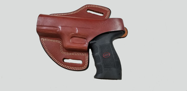 Picture of LEFT HAND TAN LEATHER BUTTERFLY HOLSTER W/SNAP FOR SAR9