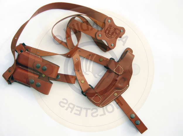 Picture of LEFT HAND TAN LEATHER HORIZONTAL SHOULDER HOLSTER FOR Sig Sauer P220 P2L-Sig