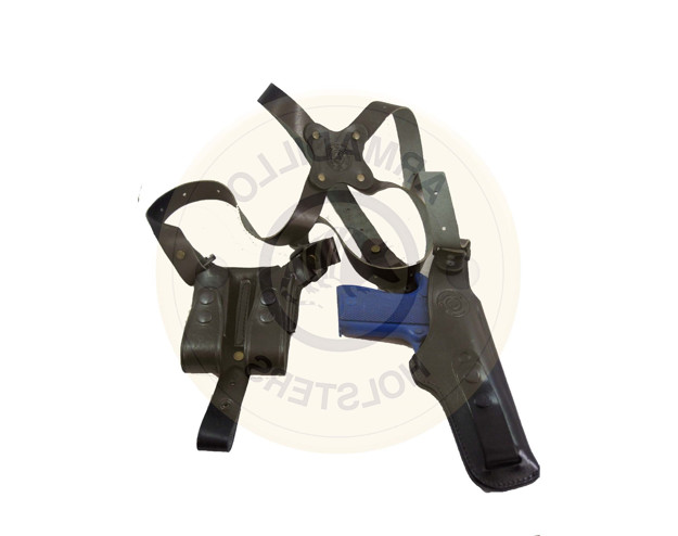Picture of LEFT HAND BLACK LEATHER VERTICAL SHOULDER HOLSTER FOR 1911