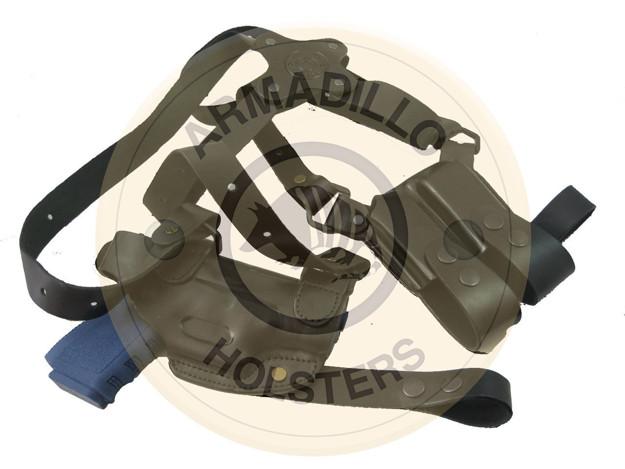 Picture of BLACK LEATHER HORIZONTAL SHOULDER HOLSTER FOR GLOCK 42/43